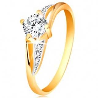 Prsteň zo 14K zlata - rozdelené dvojfarebné ramená, číre zirkóny GG192.52/58 - Veľkosť: 49 mm