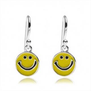 Strieborné náušnice 925, plochý prívesok - žltý usmievavý smajlík