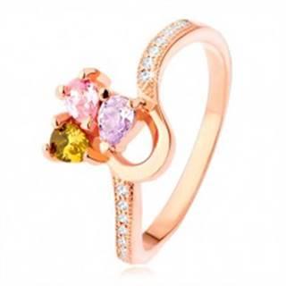 Strieborný prsteň 925, medená farba, trojfarebný zirkónový trojlístok - Veľkosť: 50 mm