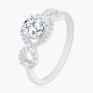 Zásnubný prsteň, striebro 925, zirkónové vlnky, okrúhly brúsený zirkón - Veľkosť: 49 mm