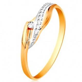 Zlatý 14K prsteň - lesklé zvlnené ramená, trblietavá číra vlnka a zirkón - Veľkosť: 48 mm