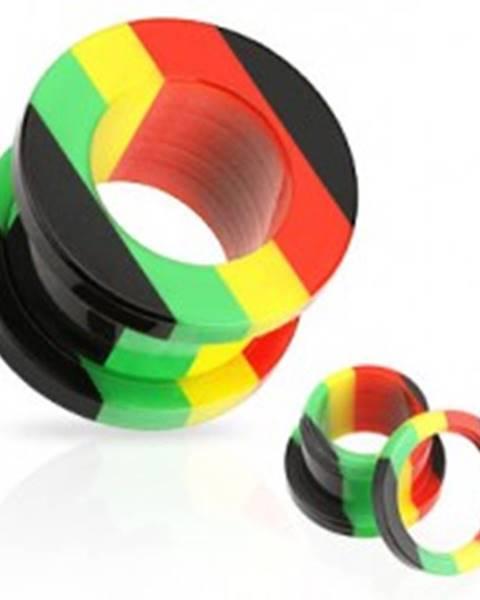 Akrylový tunel do ucha, pruhy červenej, žltej, zelenej a čiernej farby - Hrúbka: 10 mm