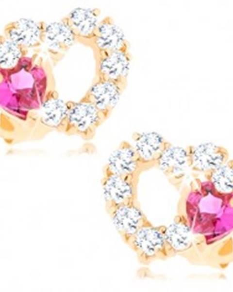Náušnice zo 14K zlata - obrys srdca s čírymi zirkónmi a ružovým srdiečkom