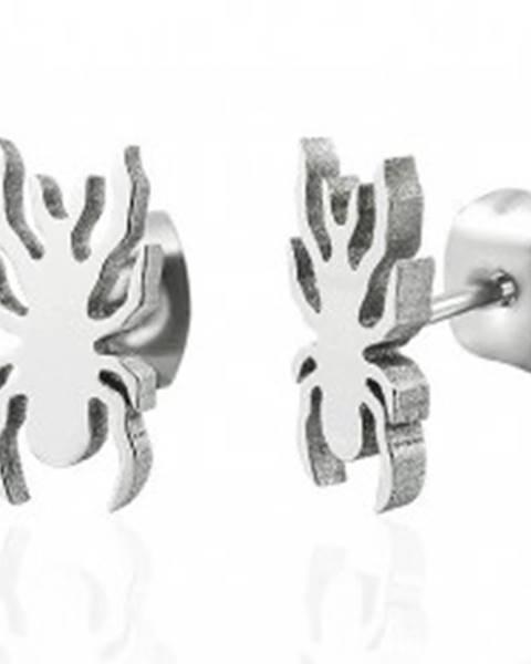 Oceľové náušnice v striebornom odtieni - lesklý pavúčik X12.20