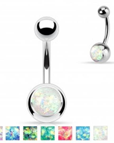 Oceľový piercing do brucha striebornej farby, gulička s imitáciou opálu I41.01/07 - Farba: Aqua modrá
