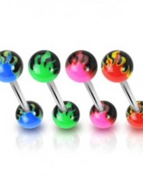Piercing do jazyka - farebné plamene - Farba piercing: Červená