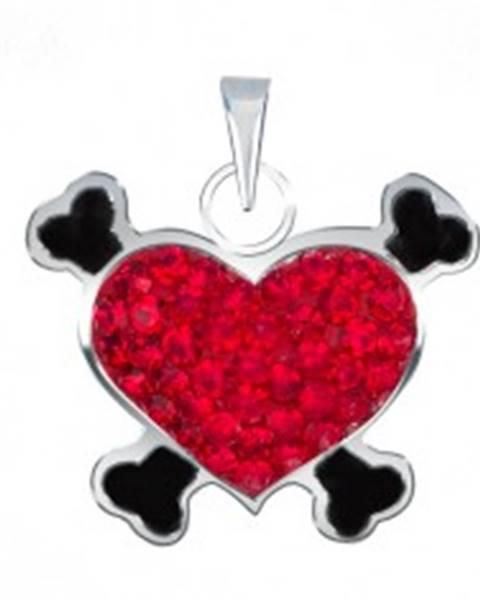 Prívesok zo striebra 925 - červené pirátske srdce so zirkónmi