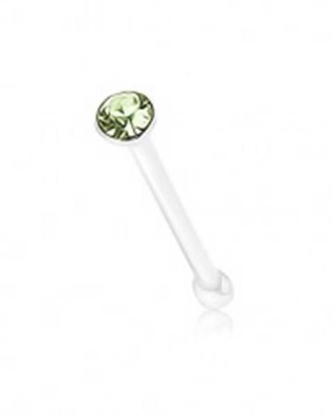 Rovný piercing zo striebra 925, okrúhly ligotavý zirkónik zelenej farby