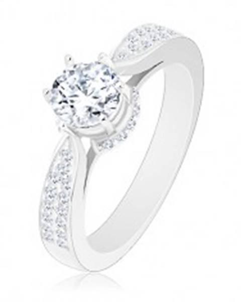 Zásnubný prsteň, striebro 925, ligotavý okrúhly zirkón, zdobený kotlík a ramená - Veľkosť: 48 mm