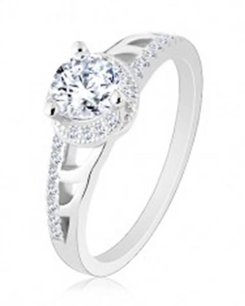 Zásnubný prsteň, striebro 925, trblietavé ramená s výrezmi, okrúhly zirkón - Veľkosť: 50 mm