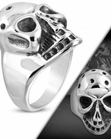 Masívny prsteň z ocele 316L, patinovaná lebka s jamkami na temene K02.01 - Veľkosť: 51 mm