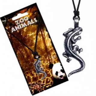 Čierny šnúrkový náhrdelník s príveskom lezúcej jašterice