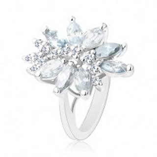 Ligotavý prsteň striebornej farby, veľký nesúmerný kvet z farebných zirkónov - Veľkosť: 51 mm, Farba: Mix