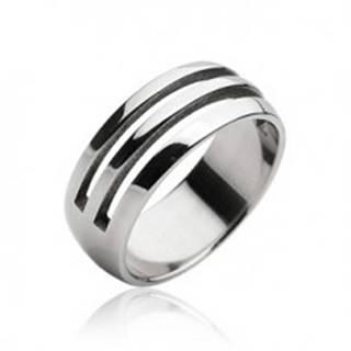 Oceľový prsteň - dva vyrezané pruhy - Veľkosť: 59 mm