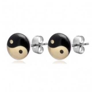 Okrúhle oceľové náušnice - JIN JANG, čierno-maslovo biele