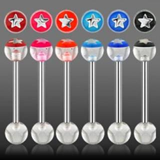 Piercing do jazyka  hviezdička z UV akrylu - Farba piercing: Červená