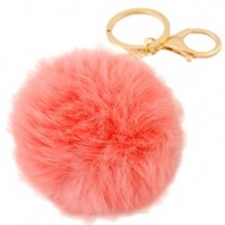 Prívesok na kľúče - ružová chlpatá loptička, karabínka zlatej farby