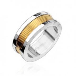 Prsteň z chirurgickej ocele - stredový pás v zlatej farbe - Veľkosť: 58 mm