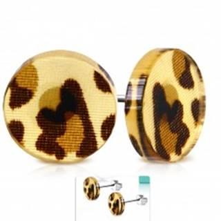 Puzetové náušnice z ocele 316L, akrylový kruh s hnedými leopardími škvrnami