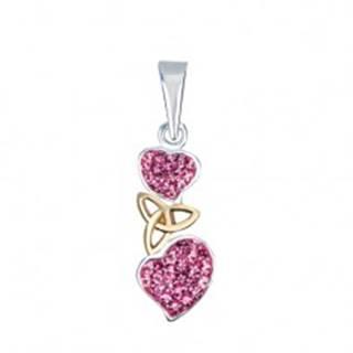 Strieborný prívesok 925 - ružové srdcia s keltským uzlom