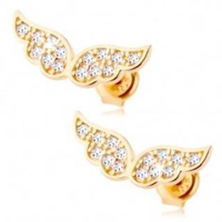 Zlaté náušnice 585 - trblietavé anjelské krídla vykladané čírymi zirkónikmi