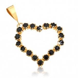 Zlatý prívesok 375 - obrys symetrického srdca vykladaný čiernymi zafírmi