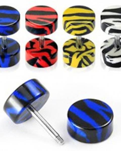 Fake plug do ucha - tigrí vzor - Farba piercing: Biela