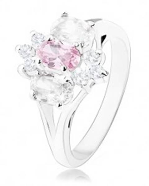 Ligotavý prsteň v striebornom odtieni, rozdelené ramená, ružovo-číry kvet K4.18 - Veľkosť: 49 mm