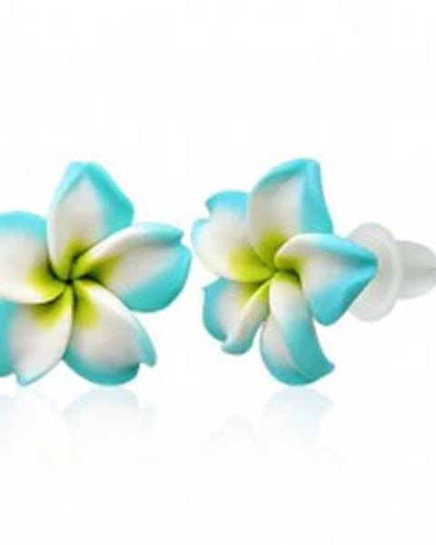 Malé Fimo náušnice - tyrkysovo biely kvietok