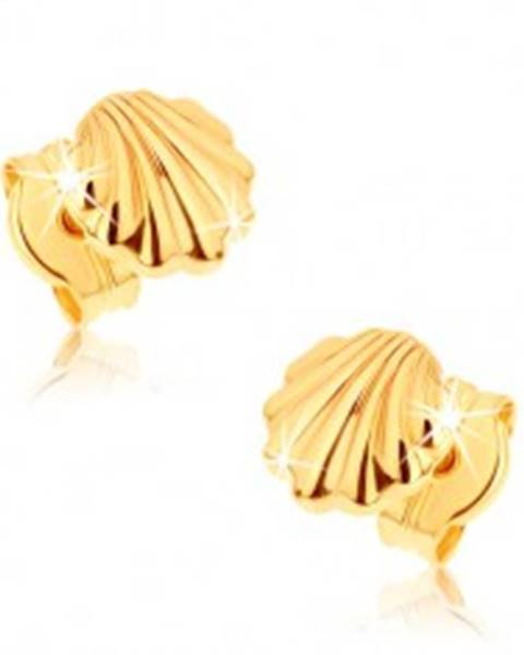 Náušnice zo žltého 9K zlata - lesklé morské mušle GG38.03