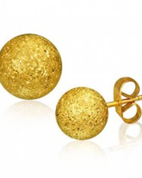 Oceľové náušnice, gulička zlatej farby s pieskovaným povrchom, 6 mm