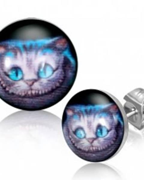 Oceľové okrúhle náušnice - mačacia tvár, čierny podklad, puzetky