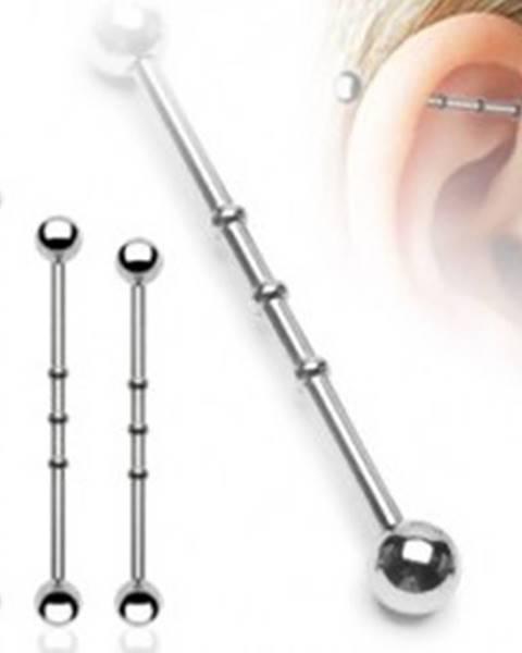 Oceľový piercing do ucha - činka, vrúbkované zárezy, guličky