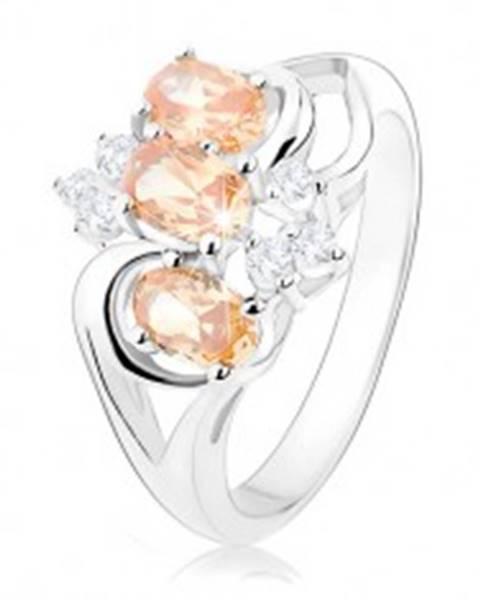 Prsteň s rozdelenými ramenami, oranžové zirkónové ovály, číre zirkóny - Veľkosť: 56 mm