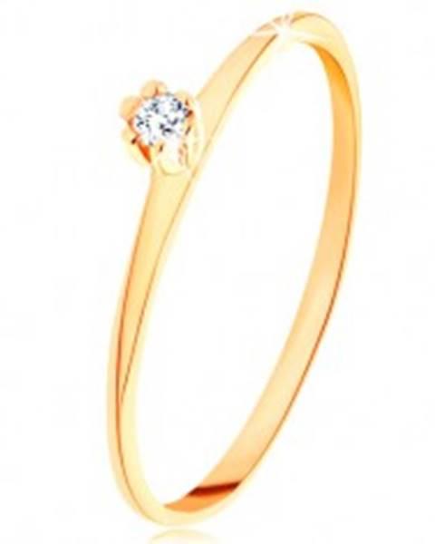 Prsteň v žltom 14K zlate - okrúhly číry zirkón, tenké skosené ramená GG202.16/22 - Veľkosť: 48 mm