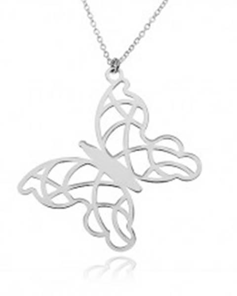 Strieborný náhrdelník 925, kontúra motýľa - zdobenie filigránom, vysoký lesk SP39.14