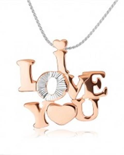 """Strieborný náhrdelník 925 - lesklý nápis """"I LOVE YOU"""" medenej farby"""