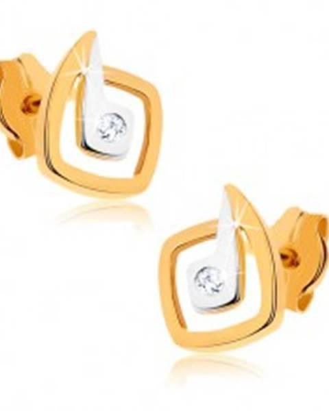 Zlaté ródiované náušnice 375 - nepravidelné dvojfarebné štvorce, zirkón