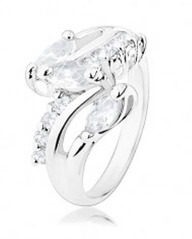 Ligotavý prsteň, ramená striebornej farby, okrúhle a zrnkové číre zirkóny R34.14 - Veľkosť: 49 mm