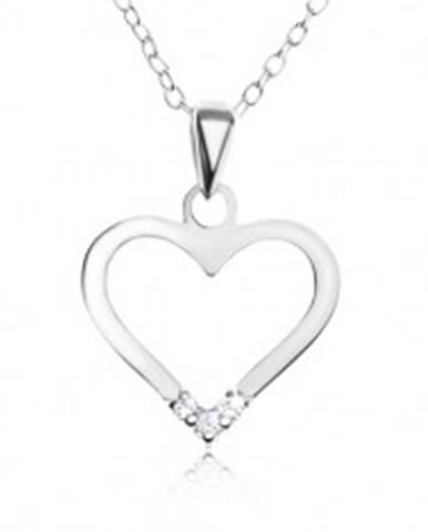 Nastaviteľný náhrdelník - striebro 925, prívesok kontúra srdca, číre zirkóny SP49.07