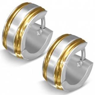 Lesklé oceľové náušnice, strieborná farba, okraje v zlatom odtieni, zárezy U19.01