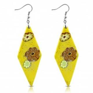 Náušnice Fimo - žlté kosoštvorce s kvetmi