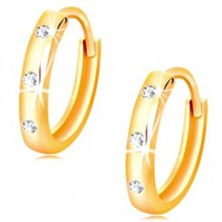 Náušnice v žltom 14K zlate - malé lesklé krúžky zdobené čírymi zirkónmi