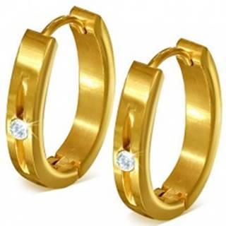 Náušnice z ocele - lesklé podkovičky zlatej farby, zárez so zirkónom SP40.04