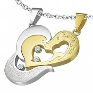 Oceľový prívesok dvojdielny - srdce zlatej a striebornej farby, I love you, krížik R7.4
