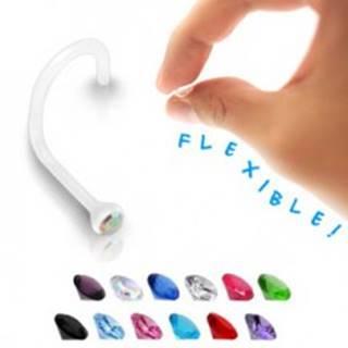 Piercing do nosa BioFlex - číry so zirkónom - Farba zirkónu: Aqua modrá - Q