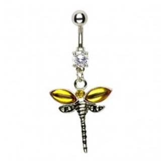 Piercing do pupku vážka - krídla zlatej farby