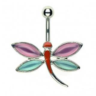 Piercing do pupku vážka - ružovomodré krídla