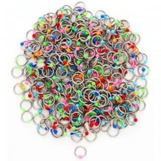 Piercing z ocele s farebnými guličkami - Farba piercing: Červená