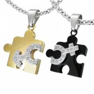 Prívesok z ocele pre dvoch - puzzle, symbol pohlaví R7.5